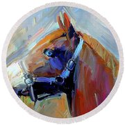 Painted Color Horse Round Beach Towel