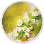 Painted Crabapple Blossoms In The Golden Evening Light Round Beach Towel