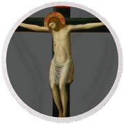 Painted Crucifix Round Beach Towel