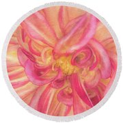 Painted Dahlia Round Beach Towel