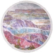 Round Beach Towel featuring the painting Painted Desert by Ellen Levinson