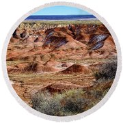 Painted Desert In Winter Round Beach Towel