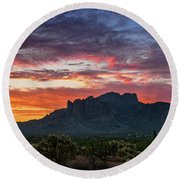 Round Beach Towel featuring the photograph Painted Desert Skies Over The Supes  by Saija Lehtonen