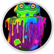 Painted Flower Frog  Round Beach Towel