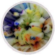 Painted Flowers #6253_0a Round Beach Towel by Barbara Tristan