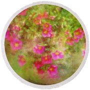 Painted Flowers Round Beach Towel