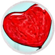 Painted Heart Round Beach Towel