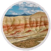 Round Beach Towel featuring the photograph Painted Hills And Afternoon Sky by Greg Nyquist