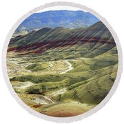 Painted Hills Panorama  Round Beach Towel