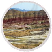 Painted Hills View From Overlook Round Beach Towel
