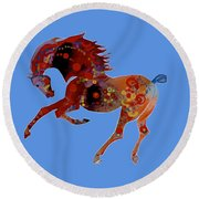 Painted Horse 3 Round Beach Towel by Mary Armstrong