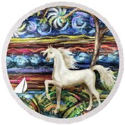 Painted Horse Round Beach Towel