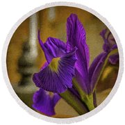 Painted Iris Round Beach Towel