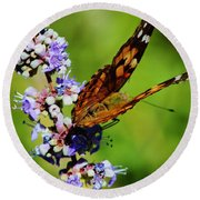 Painted Lady II Round Beach Towel