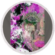 Round Beach Towel featuring the painting Painted Lady by Lisa Kaiser