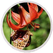 Painted Lady On Lily Round Beach Towel