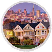 Painted Lady's  Round Beach Towel