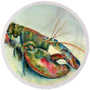 Painted Lobster Round Beach Towel