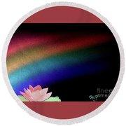 Painted Lotus Under Rainbow Round Beach Towel