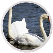 Painted Mute Swans Of Lake Junaluska North Carolina II Round Beach Towel