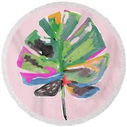 Round Beach Towel featuring the mixed media Painted Palm Leaf 2- Art By Linda Woods by Linda Woods