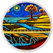 Painted Piano Round Beach Towel
