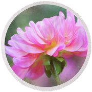 Painted Pink Dahlia Round Beach Towel