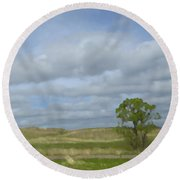 Painted Plains Round Beach Towel by JoAnn Lense