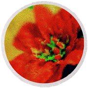 Painted Poinsettia Merry Christmas Round Beach Towel by Sandy Moulder