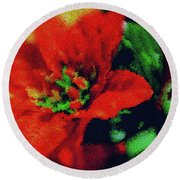 Painted Poinsettia Round Beach Towel