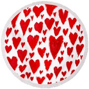 Painted Red Hearts Round Beach Towel