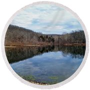 Round Beach Towel featuring the photograph Painted Rock Conservation Area by Cricket Hackmann