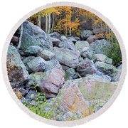 Painted Rocks Round Beach Towel by David Chandler