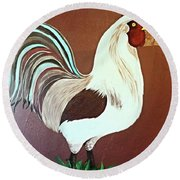 Painted Rooster Round Beach Towel