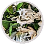 Painted Roses Round Beach Towel