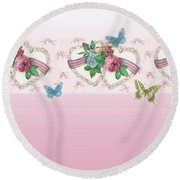 Painted Roses With Hearts Round Beach Towel