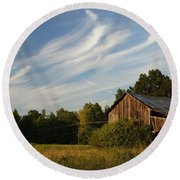 Painted Sky Barn Round Beach Towel by Benanne Stiens