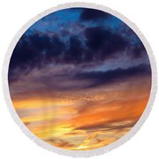 Painted Sunset Round Beach Towel by Shawna Rowe