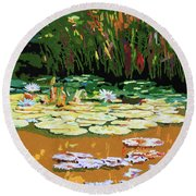 Painted Sunspots Round Beach Towel by John Lautermilch