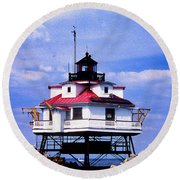 Painted Thomas Point Lighthouse Round Beach Towel