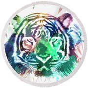 Round Beach Towel featuring the photograph Painted Tiger by Steve McKinzie