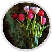 Painted Tulips Round Beach Towel by Joan Bertucci
