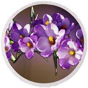 Painted Violets Round Beach Towel by John Haldane