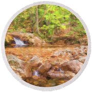 Painted Waterfall Foliage Round Beach Towel
