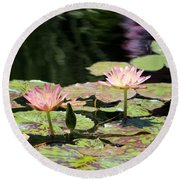 Painted Waters - Lilypond Round Beach Towel
