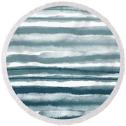 Painterly Beach Stripe 1- Art By Linda Woods Round Beach Towel
