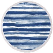Painterly Beach Stripe 3- Art By Linda Woods Round Beach Towel
