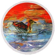 Painterly Escape II Round Beach Towel