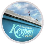 Round Beach Towel featuring the photograph Painterly Keyport Sailboat by Gary Slawsky