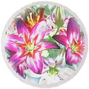 Round Beach Towel featuring the painting Painterly Pink Tiger Lilies by Annie Zeno